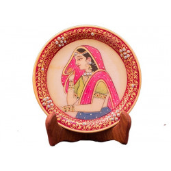 Mughal Era Design Handcrafted Marble Décor Plate