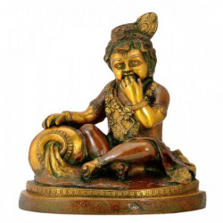 Lord Bal  Krishna Eating Butter Brass Statue