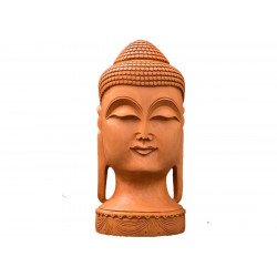 Divine Buddha Face Wooden Sculpture