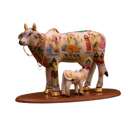 Hand-painted Divine Cow & Calf Figurine