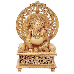 Wooden Ganesh with floral plate work
