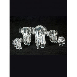 GLASS SCULPTURE ELEPHANT FAMILY