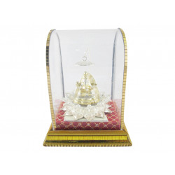 GOLD PLATED LOTUS GANESH IDOL WITH UMBRELLA (GIFT ITEM)