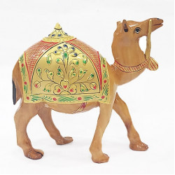 Wooden Camel Statue with emboss painting